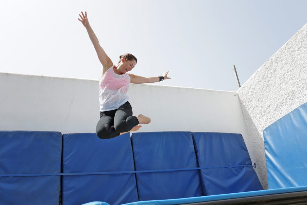 Trampoline fun at Tekne fitness retreats Ibiza