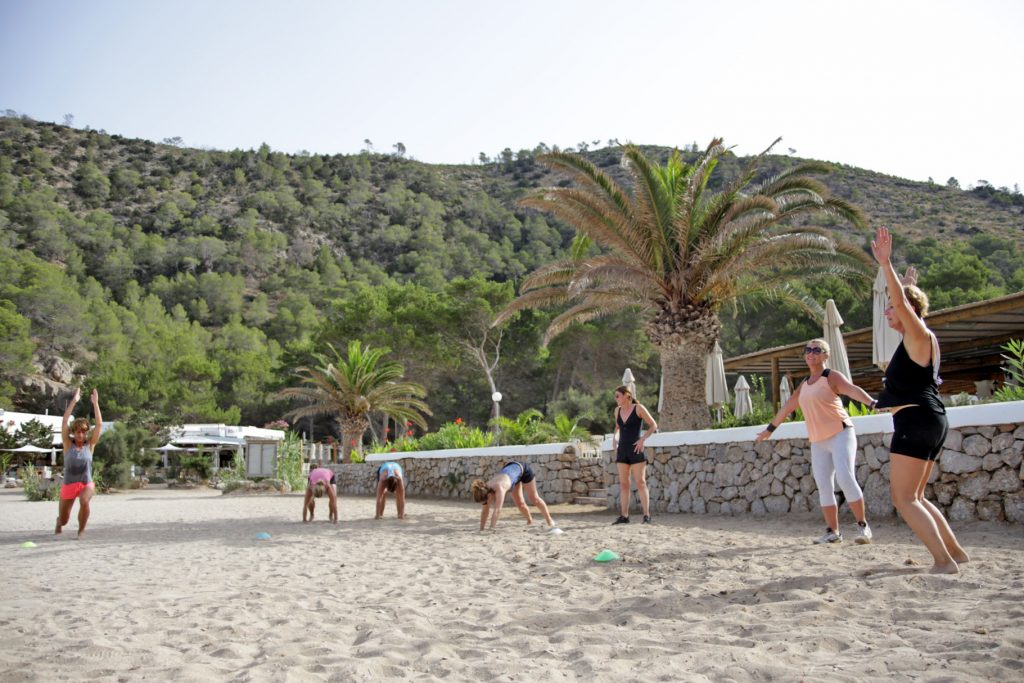 Beach workouts at Tekne Fitness Retreats Ibiza