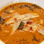 Delicious pumpkin soup for a healthy dinner at Tekne Fitness Retreats Ibiza