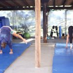 Gymnastic lesson at the Tekne gym during family fitness retreat