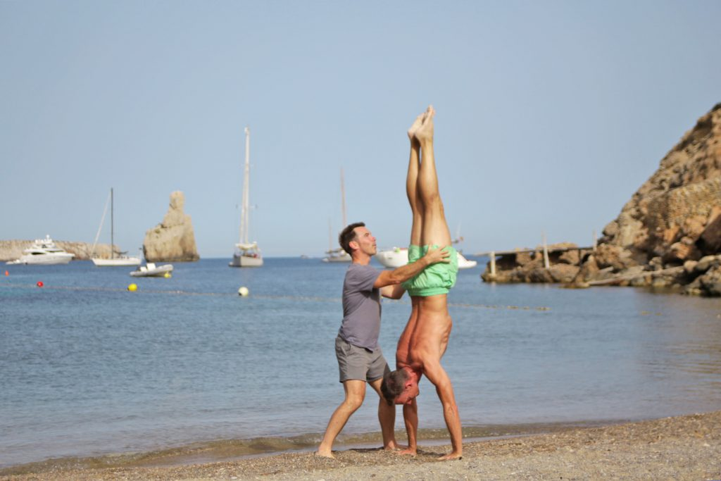 Learn handstand at Tekne fitness retreats Ibiza