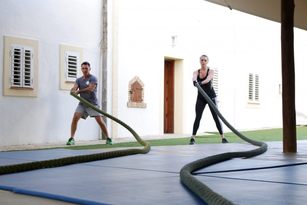 Rope exercise in our gym at Tekne fitness retreats Ibiza