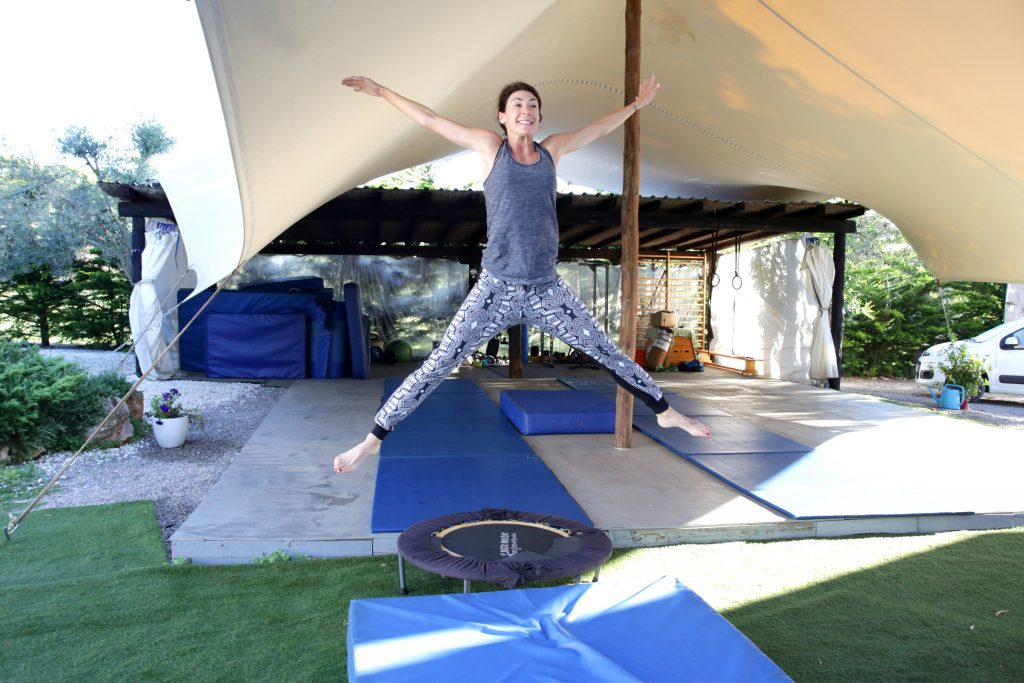 Split jumps our gym at Tekne fitness retreats Ibiza